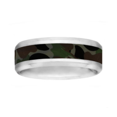 jcpenney.com |  Mens 8mm Comfort Fit Stainless Steel Camouflage Wedding Band