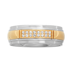 BEST VALUE! Men's Two-Tone Stainless Steel Wedding Band with Diamond Accents
