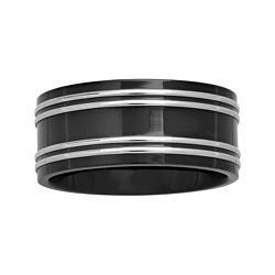 BEST VALUE! Mens 10mm Two-Tone Stainless Steel Wedding Band
