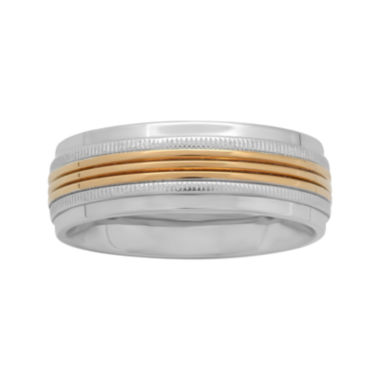 jcpenney.com |  Mens 8mm Two-Tone Stainless Steel Wedding Band