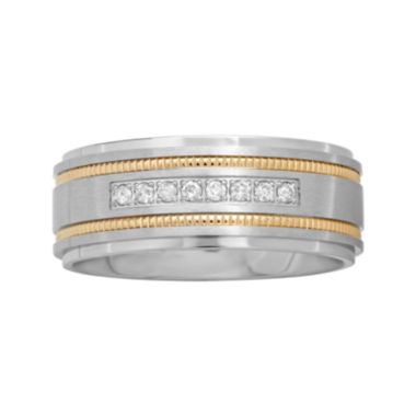 jcpenney.com |  Mens Two-Tone Stainless Steel 1/7 CT. T.W. Diamond Wedding Band