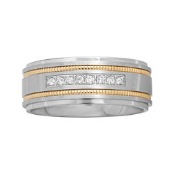 BEST VALUE! Mens Two-Tone Stainless Steel 1/7 CT. T.W. Diamond Wedding Band