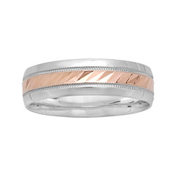 BEST VALUE! Mens 6mm Two-Tone Gold Wedding Band