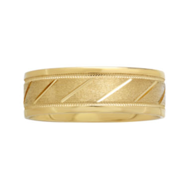 jcpenney.com |  Mens 7mm 10K Gold Slash Wedding Band