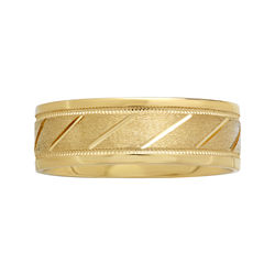 BEST VALUE! Mens 7mm 10K Gold Slash Wedding Band