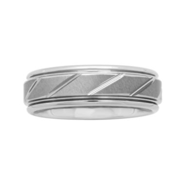 jcpenney.com |  Mens 7mm Comfort Fit Tungsten Carbide Diagonal Groove Wedding Band