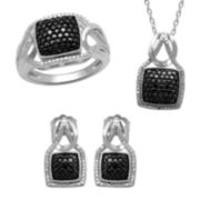 1/10 CT. T.W. White & Color-Enhanced Black Diamond 3-pc. Boxed Jewelry Set