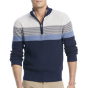 IZOD® Striped Quarter-Zip Shaker Sweater