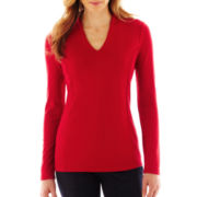 Liz Claiborne Long-Sleeve Solid High-Back Knit Tee