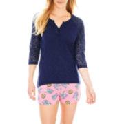 Insomniax® 3/4-Sleeve Henley Sleep Tee or Sleep Shorts