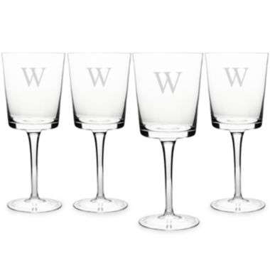 jcpenney.com | Cathy's Concepts Monogram Etched Glass Set of 4 Contemporary Wine Glasses