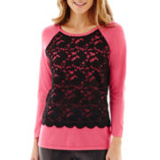 nicole by Nicole Miller® 3/4-Sleeve Lace-Front Sweater
