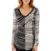 Bisou Bisou® Shirred Long-Sleeve V-Neck Top