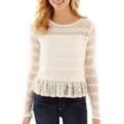 Olsenboye® Long-Sleeve Ruffle Lace Top