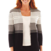 Liz Claiborne® 3/4-Sleeve Shawl-Collar Cardigan Sweater - Tall
