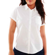 Arizona Short-Sleeve Button-Front Uniform Shirt - Juniors Plus