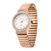 Geneva Womens Rose-Tone Bangle Expansion Watch