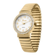 Geneva Womens Gold-Tone Bangle Expansion Watch