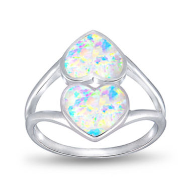 jcpenney.com | Simulated Opal Sterling Silver Double Heart Ring