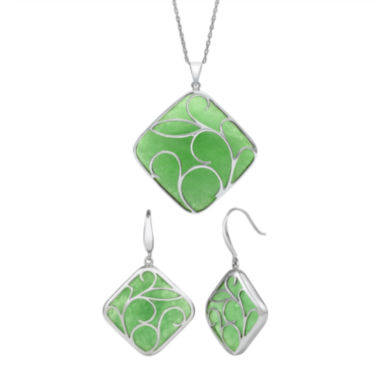 jcpenney.com | Sterling Silver Genuine Dyed Green Jade Earrings or Pendant