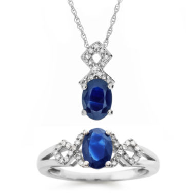 jcpenney.com | 10K White Gold Genuine Blue Sapphire Jewelry Pendant or Ring