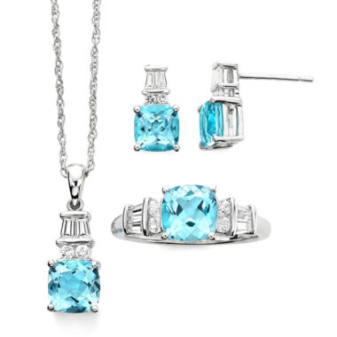 jcpenney.com | Genuine Blue Topaz and Lab Created White Sapphire Pendant, Ring or Earring