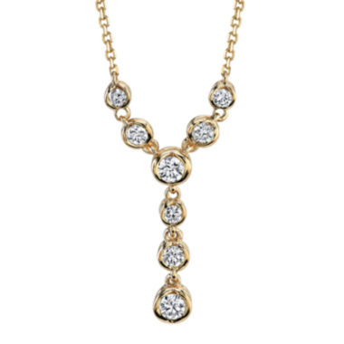 "jcpenney.com | Sirena®  1/4 CT. T.W. Diamond 14K Yellow Gold ""Y"" Necklace"