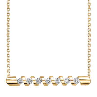jcpenney.com | Sirena® 1/4 CT. T.W. Diamond 14K Yellow Gold Bar Pendant Necklace
