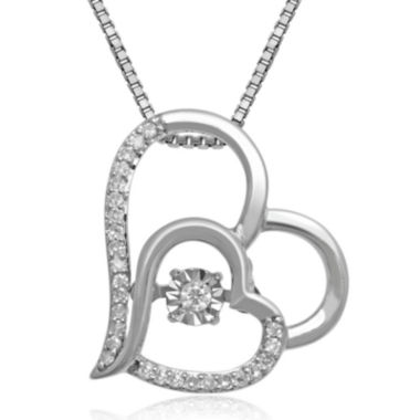 jcpenney.com | Love in Motion™ 1/10 CT. T.W. Diamond Sterling Silver Double Heart Pendant