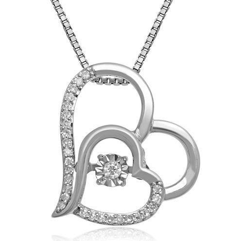 Love in Motion™ 1/10 CT. T.W. Diamond Sterling Silver Double Heart Pendant