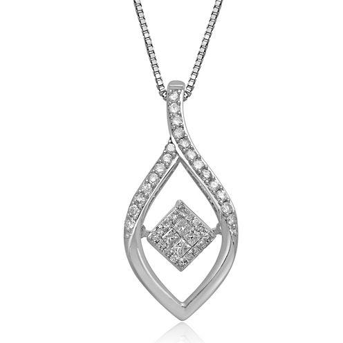 Love in Motion™ 1/4 CT. T.W. Diamond 10K White Gold Teardrop Pendant