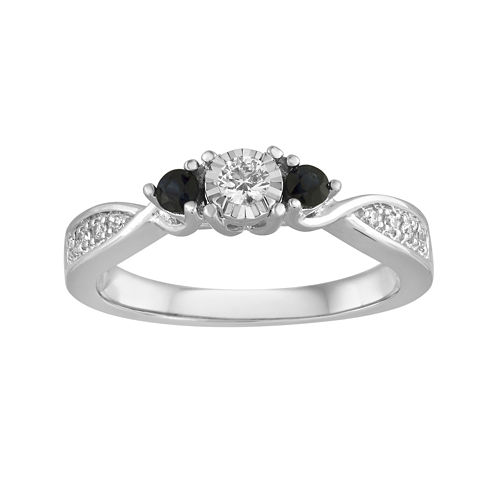 1/8 CT. T.W. Diamond and Genuine Blue Sapphire Crossover Promise Ring
