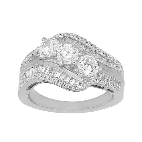 1 1/2 CT. T.W. Diamond 10K White Gold Three-Stone Ring