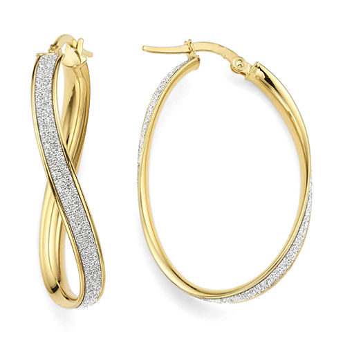 Made in Italy 14K Yellow Gold Oval Wave Glitter 36mm Hoop Earrings