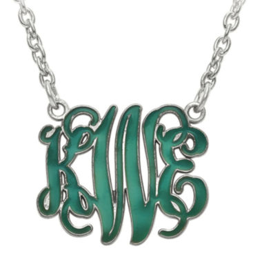 jcpenney.com | Personalized 19mm Sterling Silver Enamel Monogram Necklace