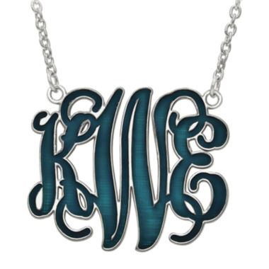jcpenney.com | Personalized 32mm Sterling Silver Enamel Monogram Necklace