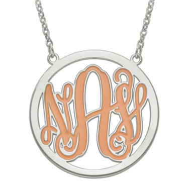 jcpenney.com | Personalized Sterling Silver Enamel Monogram 32mm Round Pendant Necklace