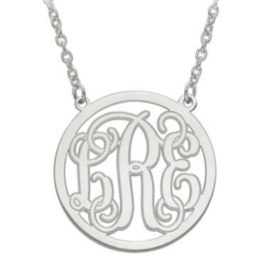 jcpenney.com | Personalized Initial Etched Outline Monogram 26mm Circle Pendant Necklace