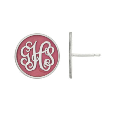 jcpenney.com | Personalized Sterling Silver Round Enamel Monogram Stud Earrings
