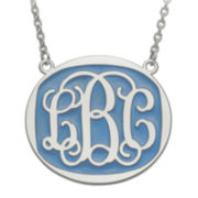 Personalized 32mm Sterling Silver Enamel Oval Monogram Necklace