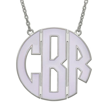 jcpenney.com | Personalized 33mm Sterling Silver Enamel Block Monogram Necklace