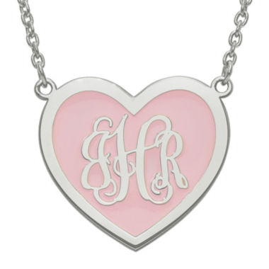 jcpenney.com | Personalized Sterling Silver 24mm Enamel Heart Monogram Necklace