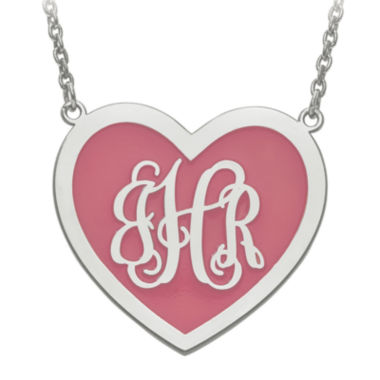 jcpenney.com | Personalized Sterling Silver 29mm Enamel Heart Monogram Necklace
