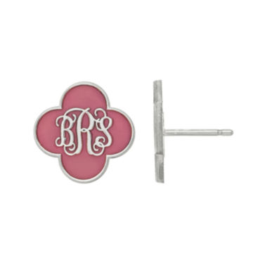jcpenney.com | Personalized Sterling Silver 14mm Enamel Monogram Clover Stud Earrings