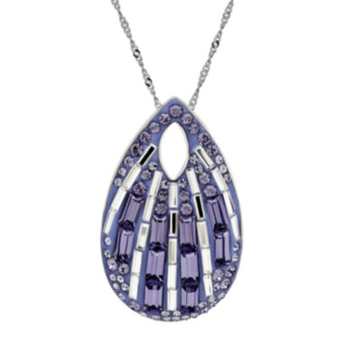 jcpenney.com | Purple and White Crystal Sterling Silver Teardrop Pendant Necklace