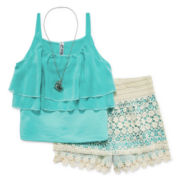 Knit Works® 3-Piece Tank and Sorts Set with Necklace - Girls 7-16 and Plus