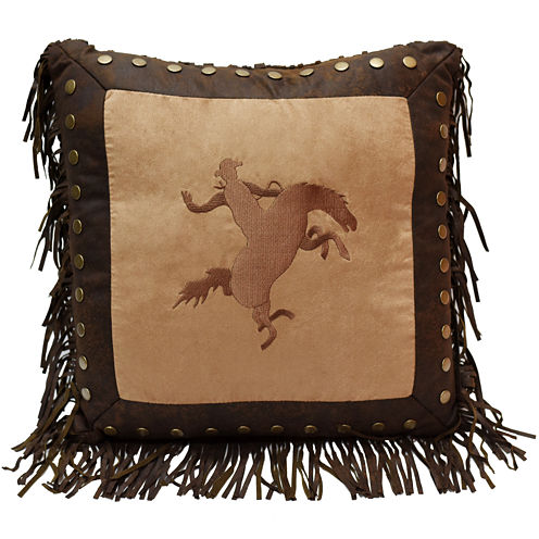 HiEnd Accents Barbwire Bronco Square Decorative Pillow