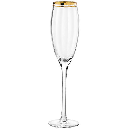 TableArt Tivoli Gold-Rim Set of 4 Champagne Flutes