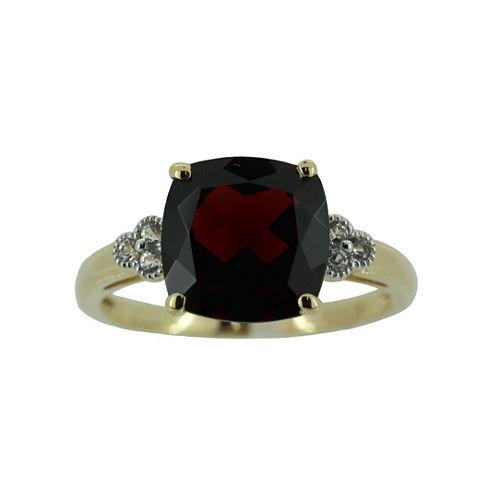 Genuine Garnet w/ Lab-Created Sapphire Ring