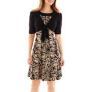 Perceptions Leaf Print Dress with Jacket